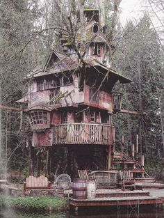 This 1960 Winter tree house has a kind of old world pirate ship allure that makes me want to play dress up. I would: Modernise while keeping the rusted feel.Hang massive candle chandeliers in each room and drape all the windows with thick white linen curtains. dreamy .