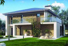 Plano de elegante casa con revestimiento de piedra y 4 dormitorios