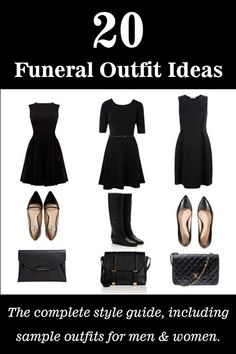 Style guide for what to wear to a funeral or memorial service. 20 funeral outfit ideas for men and women.