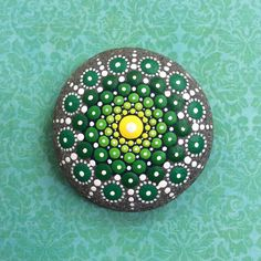 Jewel Drop Mandala Painted Stone- Sacred Geometry green supreme