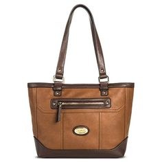 Women's Tote Handbag with Zipper Pockets - Bolo - Brown