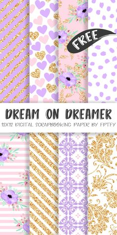 Free Digital Paper-Dream on Dream Lavender Collection - Free Pretty Things For You lavender-digital-scrapbooking-paper-FPTFY-web Free Digital Scrapbooking, Digital Scrapbook Paper, Scrapbook Paper Projects, Printable Scrapbook Paper, Printable Paper, Digital Papers, Digital Paper Freebie, Scrapbook Supplies, Planner Stickers