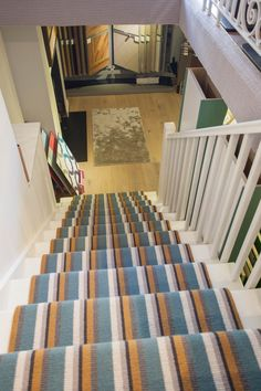 Bespoke Crucial Trading Carpet on our basement stairs.