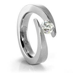 JOLIE Ladies Titanium Diamond Engagement Ring designed by #EdwardMirell #TitaniumJewelry