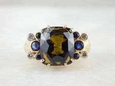 Bold Mid Century Modern Cocktail Ring with Large Dravite