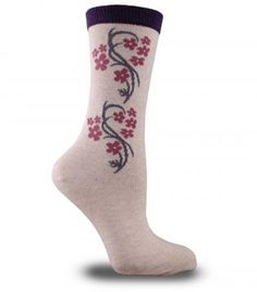 Salkım Çiçek Desenli Özel Bayan Çorabı