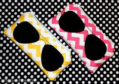 Zippered Sunglasses Pouch Tutorial by SimplyNotable.com. There are two size options and two different applique choices (aviator and geek frames). We used yellow and pink small chevrons by Riley Blake for these kid-sized pouches.