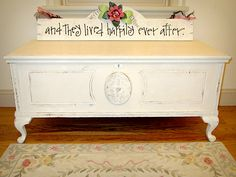 painted cedar chest and sign