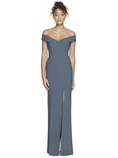 Complete any figure with the elegant off the shoulder straps on this full-length crepe bridesmaid dress. Balancing into an hourglass silhouette, the flare of the trumpet skirt complements the clean crisscross of the open back perfectly. Affordable Bridesmaid Dresses, Bridesmaid Dresses Online, Wedding Bridesmaid Dresses, Dessy Bridesmaid, Trumpet Dress, Dresses Online Australia, Draped Dress, Off The Shoulder, Shoulder Straps