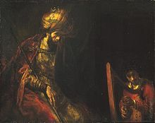 """David and King Saul, by Rembrandt. David plays the lyre (depicted here as a harp) to the king """"tormented by an evil spirit."""" After the death of King Saul (the first king of Israel), David becomes the second king to rule over of all of Israel; his reign lasted 40 years."""