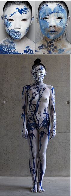 "Body Art, Body Painting, by Echo Morgan ""Be The Inside of the Vase"" Born in the communist China of the Economic Reforms, Echo Morgan (real name Xie Rong) is a performance artist. http://www.echomorganart.com/"