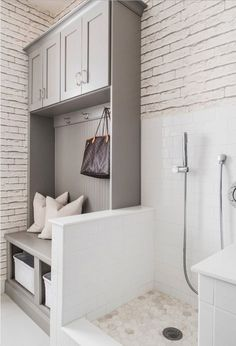 12 Genius Mudroom Dog Wash Station Ideas For Pet Lovers 12 Genius Mudroom Dog Wash Station Ideas For Pet Lovers No Home Is Complete Without A Dog Or – Mudroom Entryway Mudroom Laundry Room, Farmhouse Laundry Room, Laundry Room Design, Mudrooms With Laundry, Dog Room Design, Small Basement Bathroom, Design Bedroom, Design Kitchen, Armoire Entree