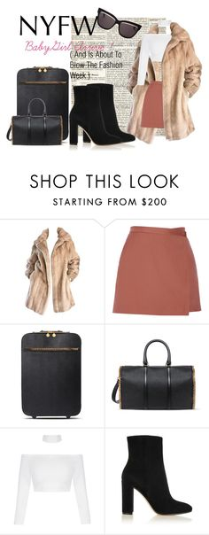 """""""I Arrive !"""" by marijanes2 ❤ liked on Polyvore featuring Lilli Ann, Theory, STELLA McCARTNEY, Gianvito Rossi, Christian Dior, NYFW, travel, Boots, NY and furcoat"""