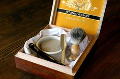 Cigar box shave set with beer shaving soap and a straight razor, great Christmas gift for the men in the family.