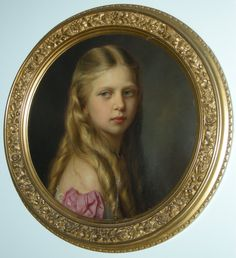 Victoria of Prussia before Dec Joseph Hartmann. Victoria was the fifth child of Queen Victoria's eldest daughter, Victoria, Princess Royal, and the German Emperor Frederick III. Queen Victoria Children, Princess Victoria, Miniature Portraits, Miniature Paintings, Royal Collection Trust, Victorian Valentines, Family Painting, Classic Paintings, Victoria And Albert