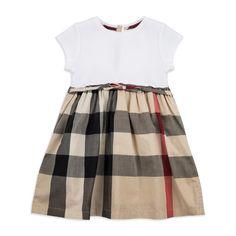 Burberry - Baby 'Mini Rosey' T-Shirt Dress - Beige - Baby girls t-shirt dress, Soft woven cotton, Reverse button closure, Belted waist, Check print skirt, Material: 100% Cotton