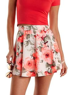 Chiffon Floral Print Skater Skirt: Charlotte Russe #floral #skirt