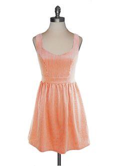 Judith March - Orange Seersucker Tieback Dress