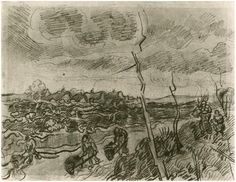 Landscape with Cottages  Vincent van Gogh Drawing, Pencil Saint-Rémy: March - April, 1890