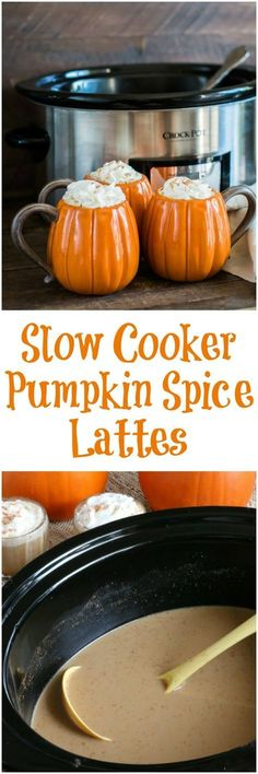 Yes it's that time of year again pumpkin everything. This Slow Cooker Pumpkin Spice Lattes just perfect for a fall get together, and couldn't get any easier. Coffee Recipes, Pumpkin Recipes, Fall Recipes, Holiday Recipes, Pumpkin Drinks, Summer Recipes, Slow Cooker Recipes, Crockpot Recipes, Cooking Recipes