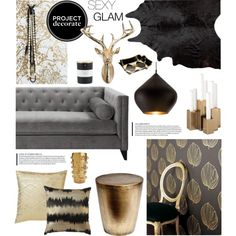Project Decorate: Sexy Glam With Honey We're Home by summersun27 on Polyvore featuring interior, interiors, interior design, home, home decor, interior decorating, Tom Dixon, Nate Berkus, West Elm and Kelly Wearstler