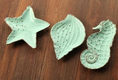 Set of 3 Ocean Style Retro Look Mint Green Salad Plate Ceramic Embossed Plate Starfish Sea Horse Conch