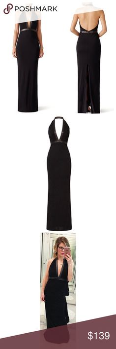 Haute Hippie Black Gisela Leather Trim Maxi Dress A stunning halter maxi dress with a leather trim, an open back and a center back slit. Hidden zip back closure. 💕Offers welcome on single items and on bundles. Take 20% off your bundles automatically at check out. Happy Poshing!💕 Haute Hippie Dresses Maxi