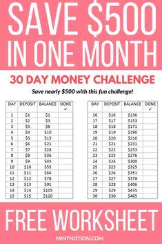 Money Challenge: So sparen Sie 500 US-Dollar in 30 Tagen - Finance tips, saving money, budgeting planner Best Money Saving Tips, Ways To Save Money, Money Tips, Saving Money Plan, Money Budget, Money Saving Hacks, Money Savers, Saving Money Chart, Excel Budget