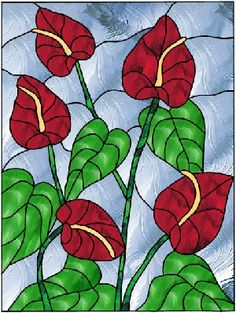 Stained+Glass+Patterns+Flowers | Stained Glass Patterns :: Anthrium Flowers :: Flowers