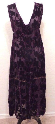 Vtg 90s URU Maxi Long Sexy Burnout Velvet Purple Vest Tunic Evening Cocktail M/L #URU #Maxi #Cocktail