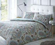 Pieridae Paisley Azul Juego de cama de funda de edredón y funda de almohada impresión digital funda de edredón de cama (Tamaño Doble King Cama Sofá, algodón poliéster, Gris, matrimonio grande
