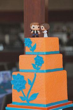 orange and blue wedding cake with han and leia star wars cake topper // san diego bali hai wedding
