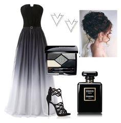 """#eliesaab #longdress #fashion #triangleearings #prom #Chanel #Dior"" by d-conan on Polyvore featuring moda, Giuseppe Zanotti, Nadri e Christian Dior"