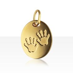 Médaille OVALE EMPREINTE DE MAINS DE BEBE Or 375°°° | cadeau de baptème ou…