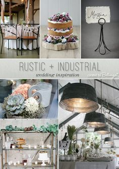 Rustic industrial wedding inspiration with galvanized ceiling wash tubs, wooden crates, and wire card holders. #uniqueweddingideas #industrialchicweddings