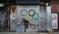 #Olympic Graffiti Art Banksy, Bansky, Urban Intervention, Stencil Art, Stencils, Street Art Graffiti, Public Art, Art Market, Japanese Art