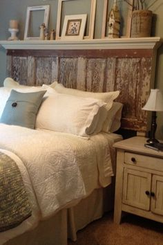16 DIY Headboard Projects Tons of Ideas and Tutorials! Including this gorgeous headboard made from a 90 year old door from 'vintage headboards'. Headboard From Old Door, Headboard Ideas, Mantel Headboard, Headboard Designs, Country Headboard, Diy King Headboard, Barn Wood Headboard, Old Door Headboards, Beach Headboard