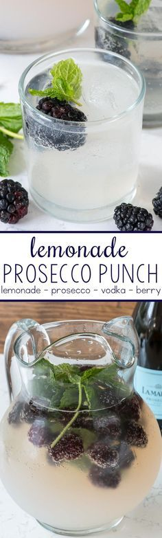 Lemonade Prosecco Punch - just 4 ingredients!!