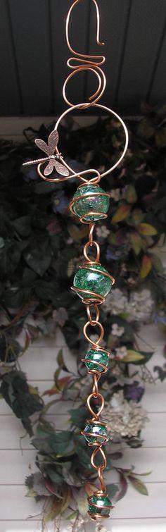 Dragonfly - Bubble Cascade - Copper and Glass Suncatcher Window Garden Art Sculpture Green. $19.99, via Etsy.