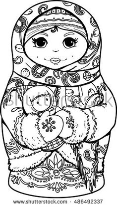 Hand-drawn matryoshka nested doll with ethnic floral pattern doodle. Coloring page - design for spiritual relaxation for adults, vector illustration, isolated on white background Matryoshka Doll, Kokeshi Dolls, Blank Coloring Pages, Coloring Books, Doodle Coloring, Adult Coloring, Christmas Stocking Pattern, Sunflower Wallpaper, Illustration