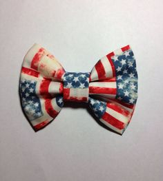 Distressed American Flag Hair Bow with Clip  by DowntownSaints, $7.00