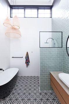 Our Castlecrag residence's bathroom exhibiting Mediterranean vibes through custom graphic pattern encaustic tiles for such an exciting feature to the room! Wood Interior Design, Interior Photo, Interior Designers Sydney, Futuristic Home, Beautiful Places To Live, Budget Planer, Encaustic Tile, Mediterranean Style, Master Bathroom