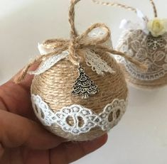 Items similar to Set of 3 twine and lace Christmas ornaments for rustic farmhouse Christmas decor on Etsy Burlap Ornaments, Christmas Baubles, Diy Christmas Ornaments, Christmas Wreaths, Christmas Crafts, Winter Wedding Decorations, Outdoor Christmas Decorations, Farmhouse Christmas Decor, Etsy Christmas
