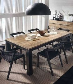 Modern Dining Room Decor - The Architects Diary Farmhouse Dining Room Table, Reclaimed Wood Dining Table, Dining Room Table Decor, Dining Room Lighting, Dining Room Design, Room Decor, Table Lamps, Dining Rooms, Home Interior Design