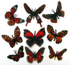 9 Red and Black Butterflies | Bead-Patterns.com