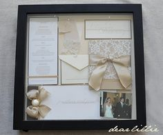 Our Wedding Invitation, Program, and Menu - box frame, lovely way to kept all the momentos from your big day on display