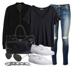 """Style #7758"" by vany-alvarado ❤ liked on Polyvore featuring moda, rag & bone, T By Alexander Wang, H&M, Prada, Vans, Ray-Ban e Southwest Moon"