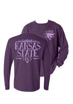 K-State Wildcats Wildcats Purple Handwritten Long Sleeve LS Tee