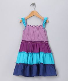 Take a look at this Purple & Blue Ruffle Dress - Infant, Toddler & Girls  by Chit-Chat on #zulily today!
