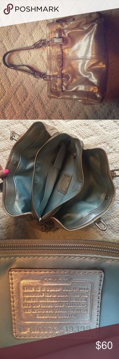 Coach metallic handbag Silvery metallic. Some marks on bottom of bag/bottom interior. Teal interior color. Lightly used. Many pockets/places for storage. Coach Bags Totes